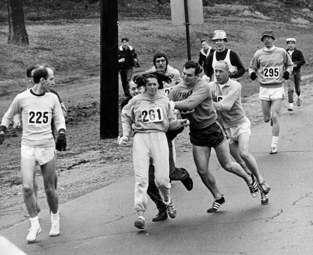 Kathy Switzer Roughed Up By Jock Semple In Boston Marathon