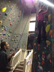 My niece and I at the climbing gym.