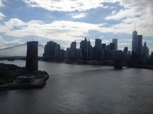 Lower Manhattan and the Brooklyn Bridge as seen from the Manhattan on a perfect saturday afternoon.