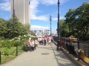 Brooklyn Bridge on a summer's day = shit ton of people.