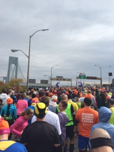 Lining up at the base of the bridge with Wave 2 of the 2015 New York City Marathon